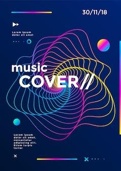 Copertina musicale o poster design. volantino sonoro con onde di linea sfumata astratta.