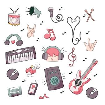 Compilation di doodle di musica carino doodle illustrazione