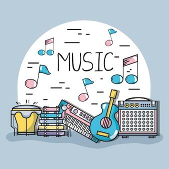 Elementi musicali per riprodurre il ritmo dell'armonia Vettore Premium