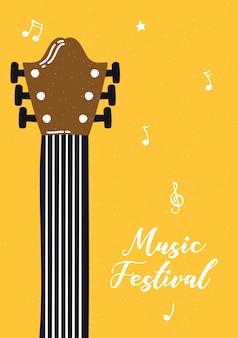 Poster di musica fest con strumento per chitarra
