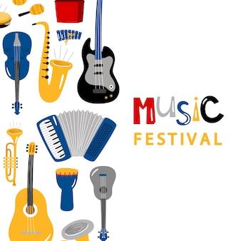 Insegna di festival di musica con progettazione di vettore degli strumenti del personaggio dei cartoni animati