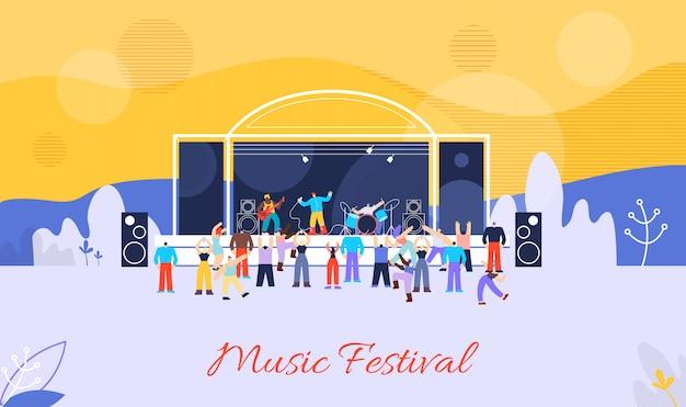Insegna di pubblicità di vettore piatto di festival di musica