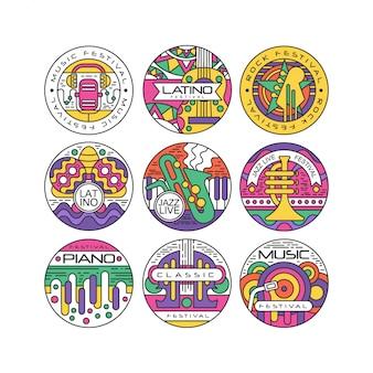 Insieme di logo del festival di musica, latino, jazz, piano, rock, etichette rotonde classiche o illustrazioni di adesivi