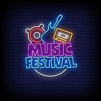 Festival di musica insegne al neon stile testo vettoriale