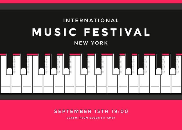 Modello di progettazione del manifesto del festival musicale con i tasti del pianoforte. sfondo classico concerto dal vivo.