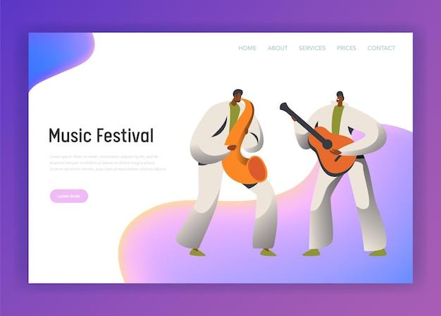 Pagina di destinazione del carattere dell'uomo del sassofono del festival musicale.