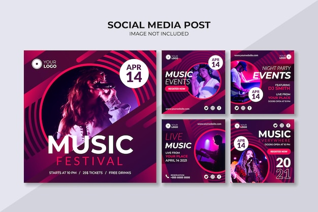 Modello di post instagram social media festival musicale