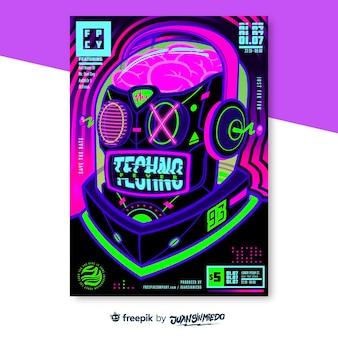 Modello di poster verticale del festival musicale con robot al neon