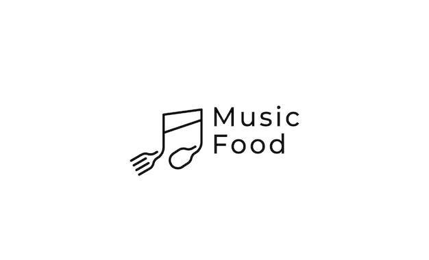 Musica cibo semplice logo design illustrazione vettoriale