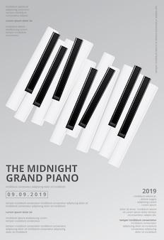 Illustrazione del modello del fondo del manifesto del pianoforte a coda di musica