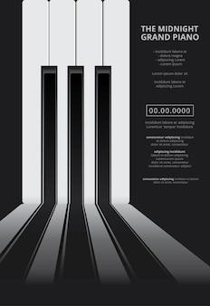 Modello di sfondo del manifesto del pianoforte a coda di musica