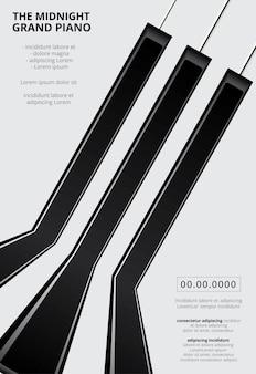 Modello di sfondo per poster di pianoforte a coda di musica