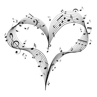 Cuore di musica con elemento di design chiave e note per la carta di san valentino di musica romantica vettore