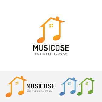 Modello di logo vettoriale casa musicale Vettore Premium