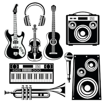 Icone della musica con altoparlanti e strumenti.