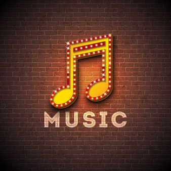 Illustrazione di musica con l'insegna di illuminazione della nota musicale