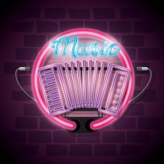 Progettazione dell'illustrazione di vettore dell'etichetta del neon iluminated di musica