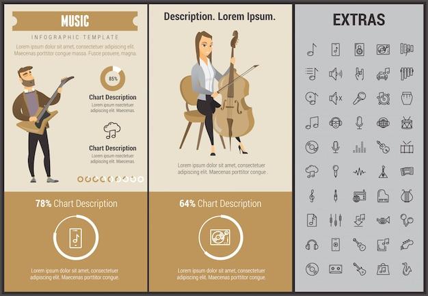 Modello, elementi ed icone infographic di musica