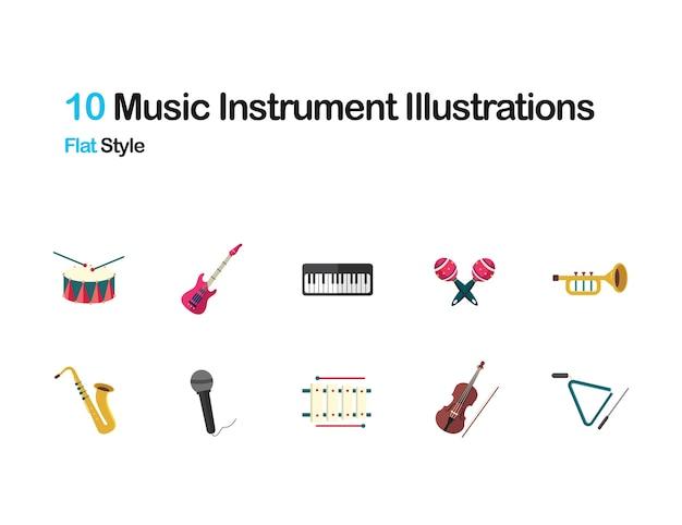 Strumento musicale illustrazione piatta Vettore Premium