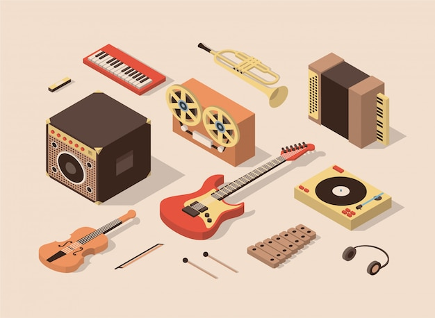 Musica, illustrazione isometrica, set di icone 3d.