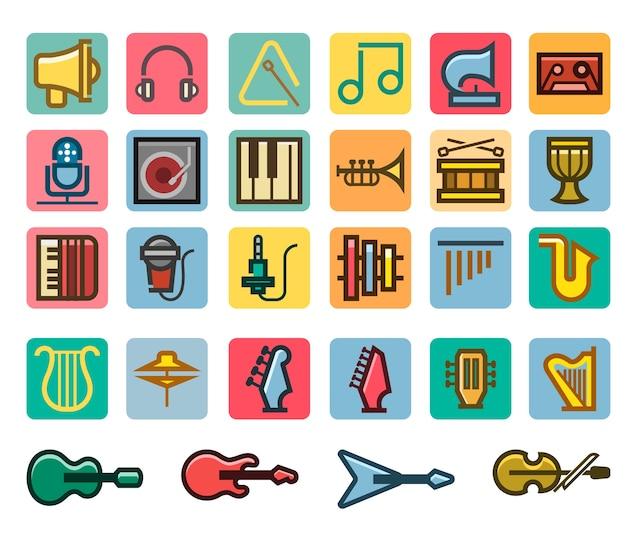 Music line fancy icon set