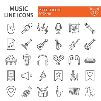 Insieme dell'icona di linea di musica, collezione di strumenti musicali