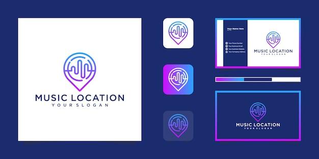 Design del logo della posizione musicale, design del logo musicale pin e biglietto da visita