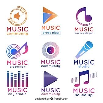 Collezione di logo musicale con stile sfumato
