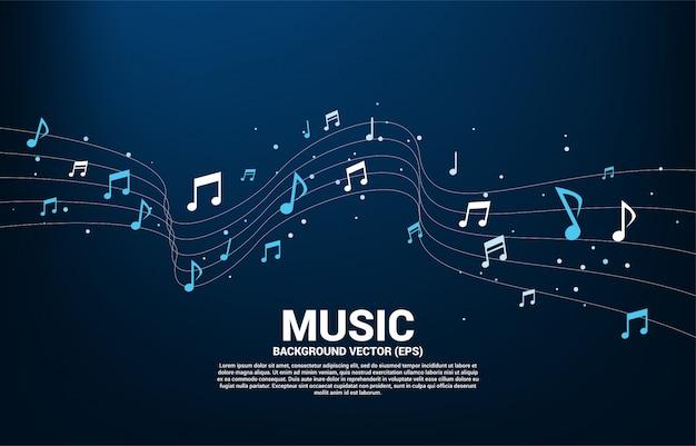 Musica melodia nota flusso danzante. priorità bassa di concetto per il tema della canzone e del concerto.
