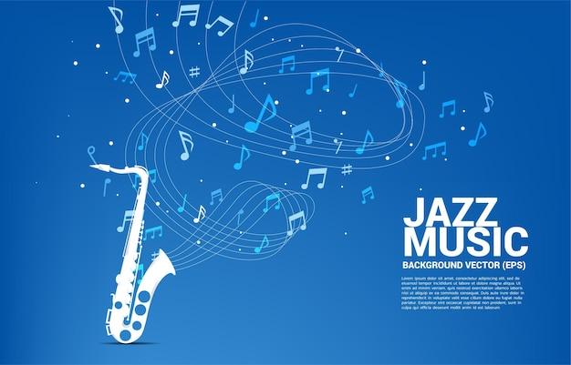 Flusso di note di melodia musicale con il sassofono. banner per la canzone jazz e il tema del concerto.