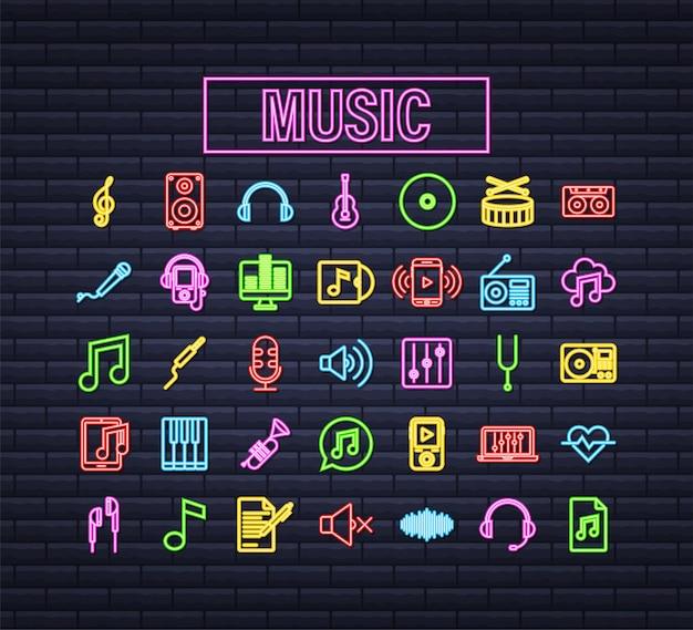 Icona di musica al neon in stile piatto. musica, voce, icona di registrazione. illustrazione di riserva di vettore.
