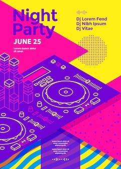 Manifesto della festa notturna di musica con l'illustrazione di vettore del modello dell'aletta di filatoio dello spettacolo della discoteca della console del dj degli anni '80