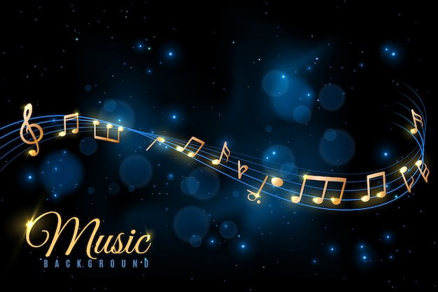Poster di note musicali. sottofondo musicale, vortici di note musicali. album jazz, concetto di annuncio di concerto di sinfonia classica