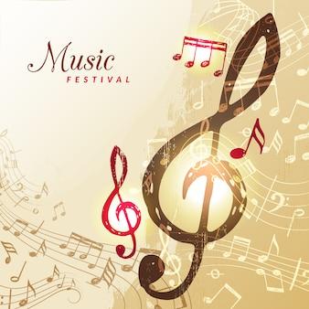 Sfondo di note musicali. illustrazione della chiave tripla della pentola del suono di canzone dello strumento di festival