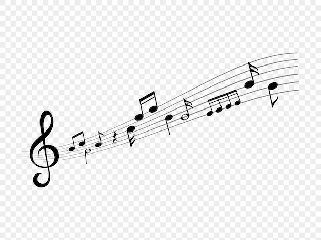 Onde di note musicali. canzone vivente astratta. note musicali e segni di chiave di violino sulle onde della linea di punteggio