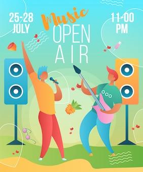 Modello di manifesto di musica open air con personaggi