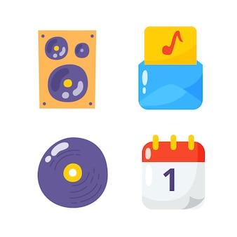Collezioni di pacchetti di icone piatte per feste musicali.