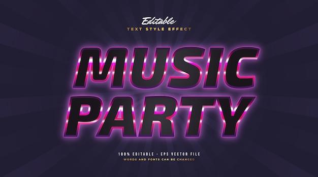 Testo della festa musicale in nero e viola con effetto neon incandescente. effetto stile testo modificabile