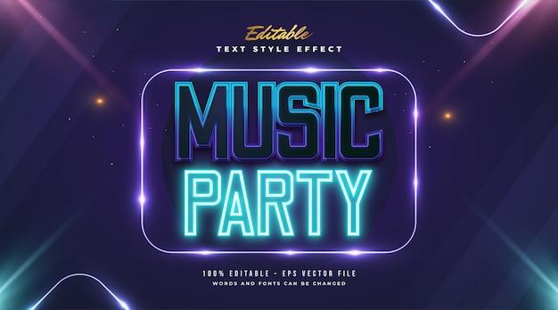 Testo del partito di musica in stile futuristico con effetto neon incandescente