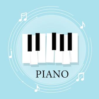 Tastiera per pianoforte musicale con note. poster modello di sfondo Vettore Premium