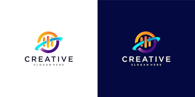 Design logo colorato pianeta musica