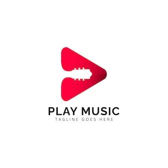 Concetto di design del logo della riproduzione musicale illustrazioni di chitarra
