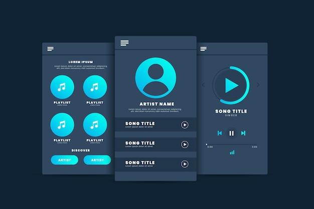 Interfaccia dell'app modello di lettore musicale