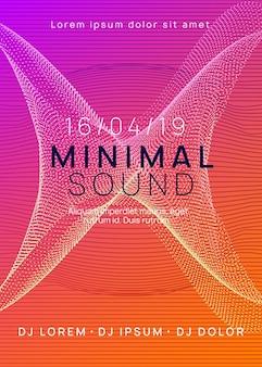 Manifesto musicale. modello luminoso della rivista della discoteca. forma e linea del gradiente dinamico. manifesto di musica al neon. dj di danza elettronica