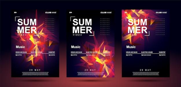 Modelli di poster musicali per musica elettronica di basso.