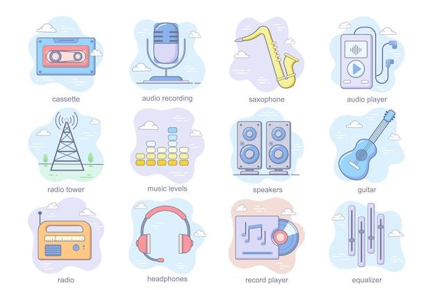 Le icone piatte del concetto di stazione radio e di musica impostano un pacchetto di livelli di sassofono di registrazione audio di cassette g ...