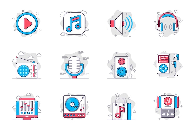 Set di icone di linea piatta per il concetto di stazione radio e musica trasmissione di apparecchiature musicali per app mobile