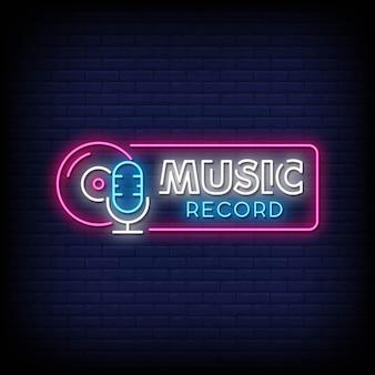 Testo di stile di insegne al neon di musica record