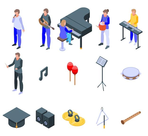 Set di icone di scuola di musica, stile isometrico