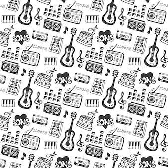 Musica senza saldatura con strumenti musicali doodle e elementi sonori. illustrazione vettoriale stampa di musica